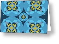 Abstract Mandala Cyan, Dark Blue And Yellow Pattern For Home Decoration Greeting Card