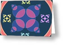 Abstract Mandala Pink, Dark Blue And Cyan Pattern For Home Decoration Greeting Card