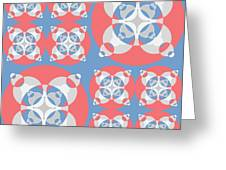 Abstract Mandala White, Pink And Blue Pattern For Home Decoration Greeting Card