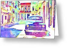 Abstract Watercolor - Havana Cuba Classic Car IIi Greeting Card