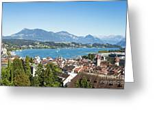 Aerial View Of Lucerne In Switzerland.  Greeting Card