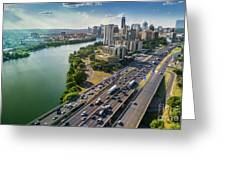 Aerial View Of The Austin Skyline As Rush Hour Traffic Picks Up On I-35 Greeting Card