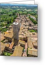 Aerial Wide-angle View Of The Historic Town Of San Gimignano Wit Greeting Card
