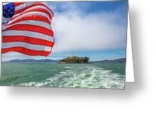 Alcatraz Island With American Flag Greeting Card