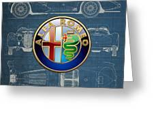 Alfa Romeo 3 D Badge Over 1938 Alfa Romeo 8 C 2900 B Vintage Blueprint Greeting Card