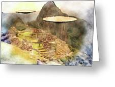 Alien Ufos Over Machu Picchu Greeting Card