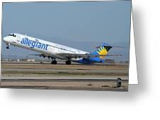 Allegiant Air Mcdonnell-douglas Md-83 N429nvmesa Gateway Airport Arizona March 11 2011 Greeting Card