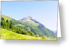 Alpine Mountain Peak Landscape. Greeting Card