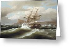 An American Ship In Distress Greeting Card