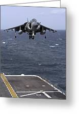 An Av-8b Harrier II Prepares To Land Greeting Card