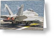 An Fa-18f Super Hornet Taking Off Greeting Card