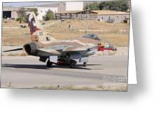 An Israeli Air Force F-16b Netz Taxiing Greeting Card