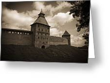 Ancient Walls. Sepia Greeting Card
