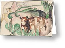 Animals In A Landscape Greeting Card