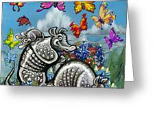 Armadillos Bluebonnets And Butterflies Greeting Card