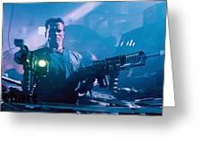 Arnold Schwarzenegger Firing Dual Em-1 Railguns Eraser 1996 Greeting Card