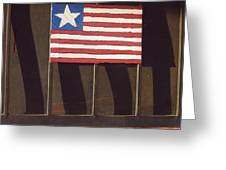Art Homage Jasper Johns Flag Window Silver Dollar Bar Eloy Arizona 2004 Greeting Card
