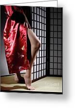 Asian Woman In Red Kimono Greeting Card