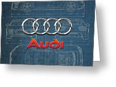 Audi 3 D Badge Over 2016 Audi R 8 Blueprint Greeting Card by Serge Averbukh