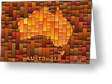 Australia Map Glasa In Orange Greeting Card