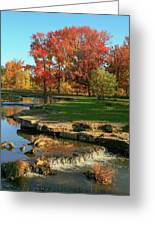 Autumn At The Deer Lake Creek Riffles In Forest Park St Louis Missouri Greeting Card