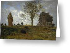 Autumn Landscape With A Flock Of Turkeys Greeting Card