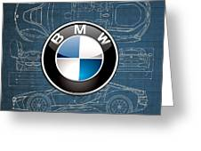 B M W 3 D Badge Over B M W I8 Blueprint  Greeting Card