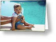 Baby Boy Sitting By The Pool Greeting Card