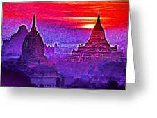 Bagan Sunrise Greeting Card