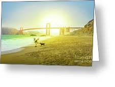 Baker Beach Dog Playing Greeting Card