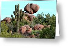 Balancing Act In The Arizona Desert 2 Greeting Card