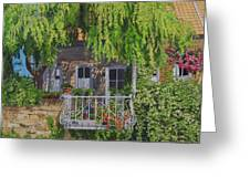 Balcony With Flowers Greeting Card