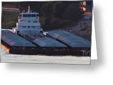 Barge On Mississippi River Greeting Card