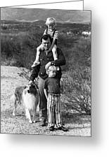 Barry Sadler With Sons And Family Collie Tucson Arizona 1971 Greeting Card
