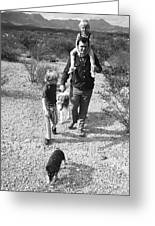 Barry Sadler With Sons Baron And Thor Taking A Stroll 1 Tucson Arizona 1971 Greeting Card