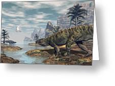 Batrachotomus Dinosaurs -3d Render Greeting Card