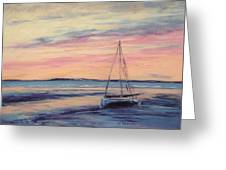 Beached At Sunset Greeting Card