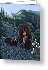 Bears On Snow Peak Painting Greeting Card
