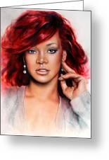 beautiful airbrush portrait of RihanA beautiful airbrush portrait of Rihanna with red hair and a fac Greeting Card