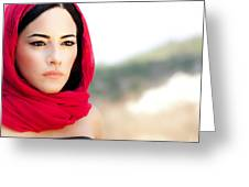 Beautiful Arabic Woman Greeting Card by Anna Om