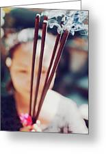 Beautiful Asian Woman Holding Incense Sticks During Hindu Ceremony In Bali, Indonesia Greeting Card