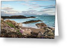 Beautiful Landscape Image Of Rocky Beach With Snowdonia Mountain Greeting Card