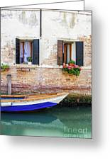 Beautiful View Of Water Street And Old Buildings In Venice, Ital Greeting Card