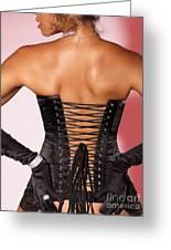 Beautiful Woman In Black Corset Greeting Card