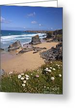 Bedruthan Steps Beach And Atlantic Surf In Summer Sun Cornwall  Greeting Card