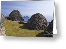 Beehive Stone Huts, Skellig Michael, County Kerry, Ireland Greeting Card