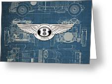 Bentley - 3 D Badge Over 1930 Bentley 4.5 Liter Blower Vintage Blueprint Greeting Card
