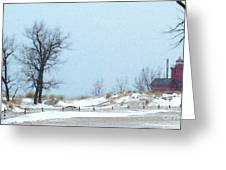Big Red Lighthouse - View 1 Greeting Card