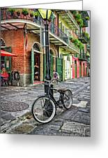 Bike And Lamppost In Pirate's Alley Greeting Card