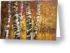 Birch Trees In Golden Fall Greeting Card